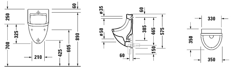 082135 Philippe Starck Edition 3 Urinal CAD Drawing