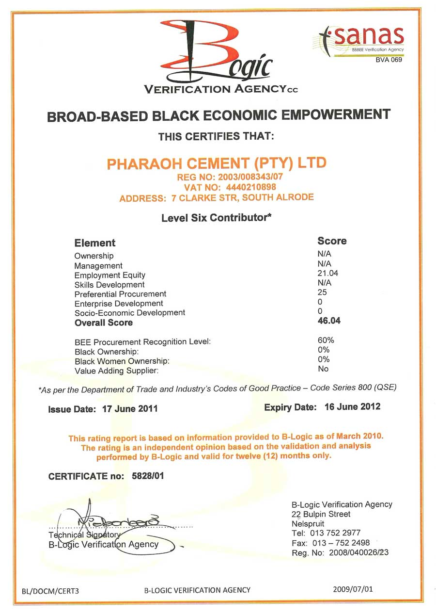 Pharaoh cement bee certificate sabs certificate xflitez Choice Image